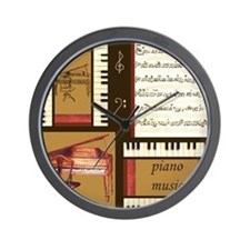 Piano Keys Music Song Clef Wall Clock