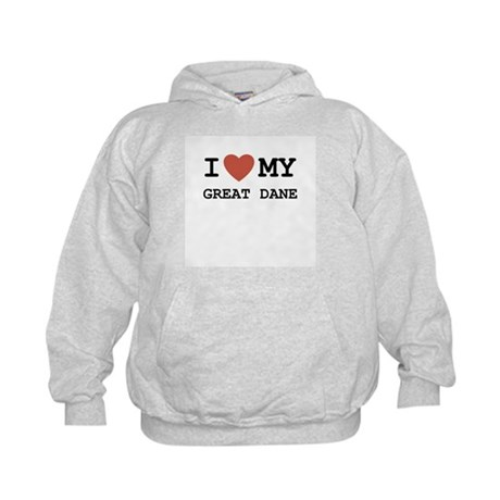 I Love My Great Dane Kids Hoodie