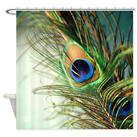 teal peacock feather shower curtain by sylviacookphotography