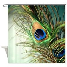 Teal Peacock feather Shower Curtain
