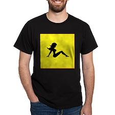 Trucker Girl on Yellow T-Shirt