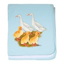 White Duck Family baby blanket