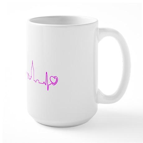 New York Heartbeat (Heart) Fuschia Large Mug