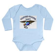 Navy - Eagle with Anchor Long Sleeve Infant Bodysu
