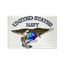 Navy - Eagle with Anchor Rectangle Magnet