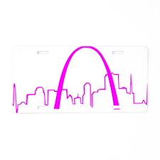 St. Louis Heartbeat Fuschia Aluminum License Plate