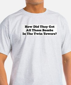 WTC Bombs Ash Grey T-Shirt