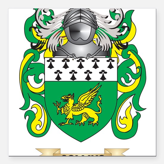 """Collins Coat of Arms Square Car Magnet 3"""" x 3"""""""