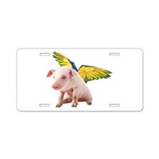 Pigs Fly Aluminum License Plate
