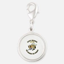 New Navy SeaBee Silver Round Charm