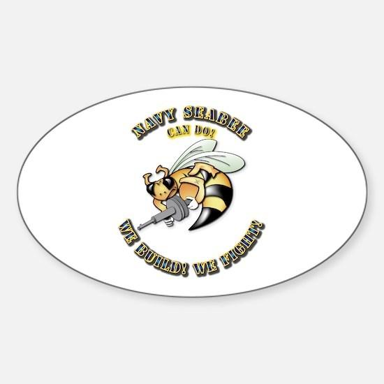 New Navy SeaBee Sticker (Oval)