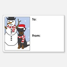 Beauceron Winter Holiday Gift Tag Decal