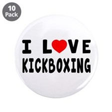 """I Love Kickboxing 3.5"""" Button (10 pack)"""