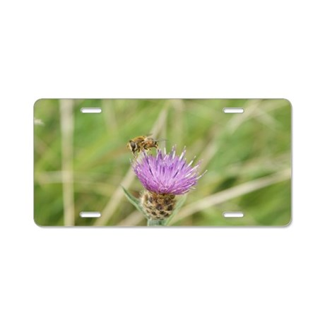 Bee on Flower Aluminum License Plate