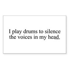 I play Drums to silence the v Sticker (Rectangular