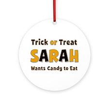 Sarah Trick or Treat Round Ornament