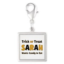 Sarah Trick or Treat Silver Square Charm