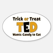 Ted Trick or Treat Oval Decal