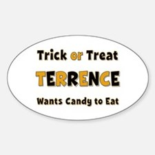 Terrence Trick or Treat Oval Decal