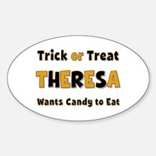Theresa Trick or Treat Oval Decal
