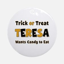 Teresa Trick or Treat Round Ornament