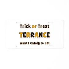 Terrance Trick or Treat Aluminum License Plate