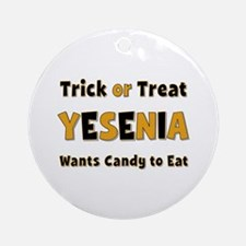 Yesenia Trick or Treat Round Ornament