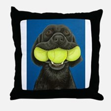 Black Lab with 3 tennis balls Throw Pillow