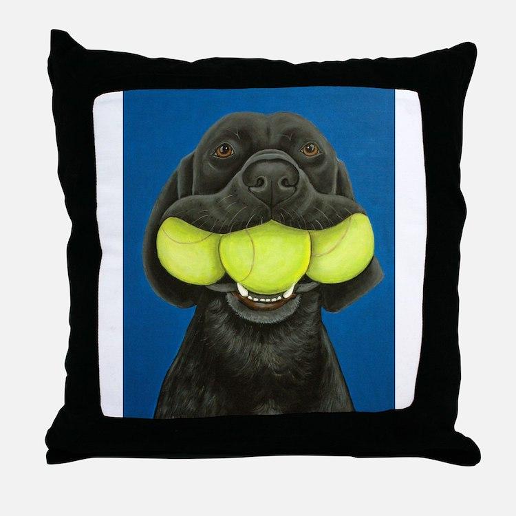 Black Lab with 3 tennis balls Throw Pillow