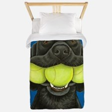Black Lab with 3 tennis balls Twin Duvet