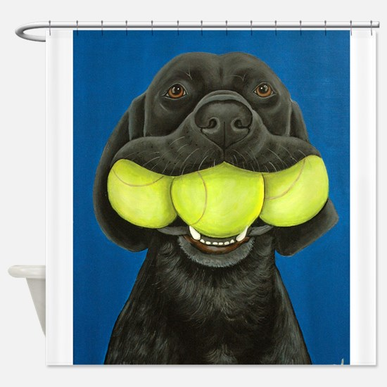 Black Lab with 3 tennis balls Shower Curtain