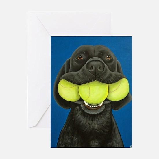 Black Lab with 3 tennis balls Greeting Card