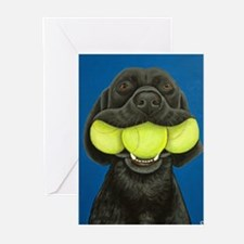 Black Lab with 3 tennis balls Greeting Cards (Pk o