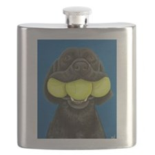 Black Lab with 3 tennis balls Flask