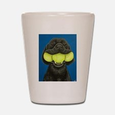 Black Lab with 3 tennis balls Shot Glass