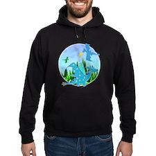 Cute Blue Cartoon Dragon Fantasy Landscape Hoodie