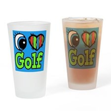 i love eye heart golf Drinking Glass