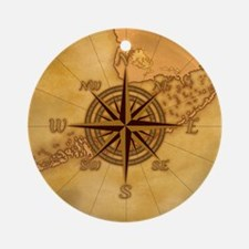 Vintage Compass Rose Ornament (Round)