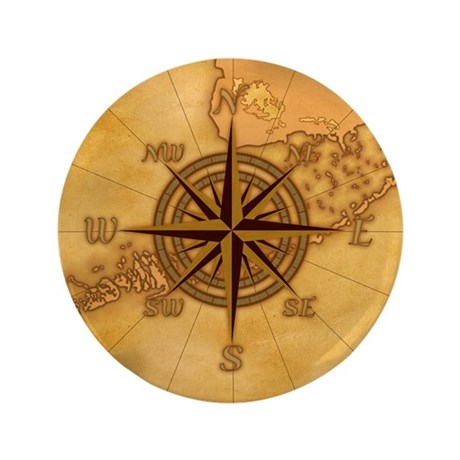 """Vintage Compass Rose 3.5"""" Button (100 pack)"""