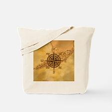 Vintage Compass Rose Tote Bag