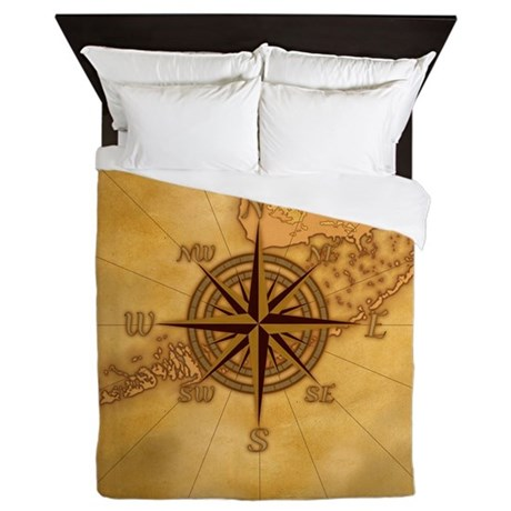 Vintage Compass Rose Queen Duvet