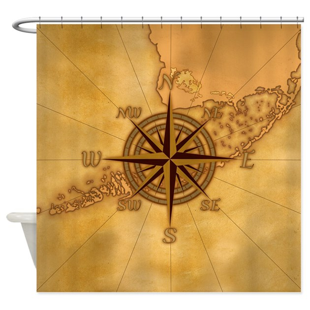 Vintage Compass Rose Shower Curtain By Bailoutisland