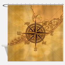 Vintage Compass Rose Shower Curtain