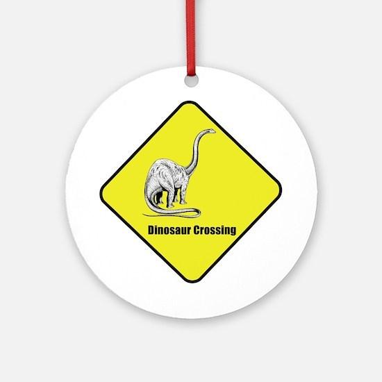 Diplodocus Dinosaur Crossing Ornament (Round)