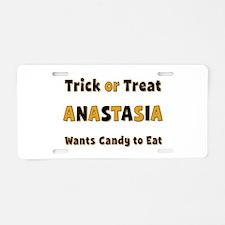 Anastasia Trick or Treat Aluminum License Plate