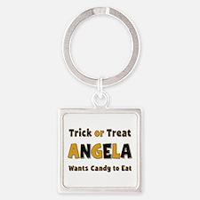 Angela Trick or Treat Square Keychain