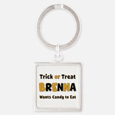 Brenna Trick or Treat Square Keychain