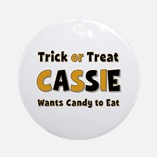 Cassie Trick or Treat Round Ornament