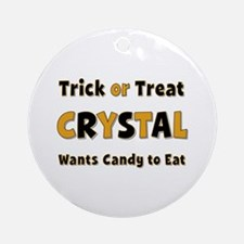 Crystal Trick or Treat Round Ornament