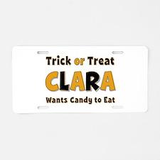 Clara Trick or Treat Aluminum License Plate